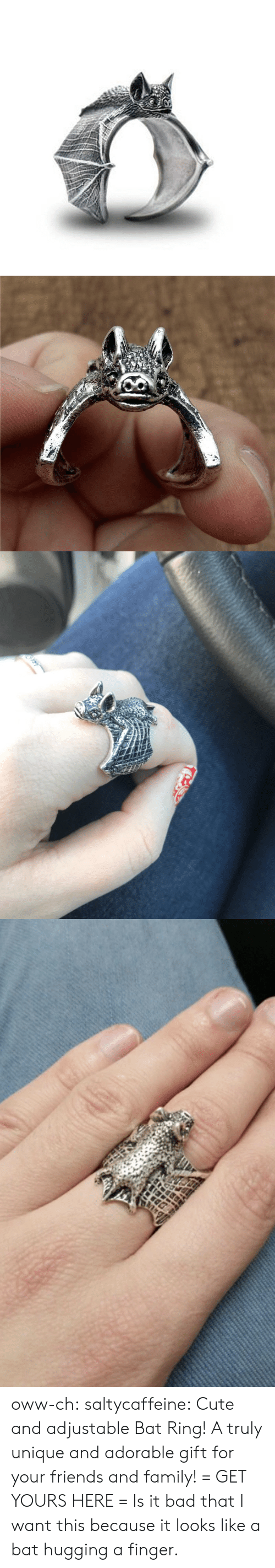 Bad, Cute, and Family: oww-ch: saltycaffeine:   Cute and adjustable Bat Ring! A truly unique and adorable gift for your friends and family! = GET YOURS HERE =   Is it bad that I want this because it looks like a bat hugging a finger.