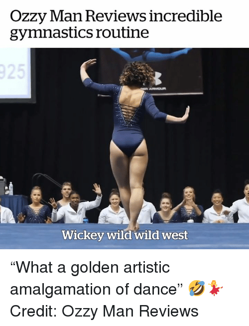 """Gymnastics, Wild, and Dance: OZZy lan Reviews incredible  gymnastics routine  Wickey wild wild west """"What a golden artistic amalgamation of dance"""" 🤣💃  Credit: Ozzy Man Reviews"""