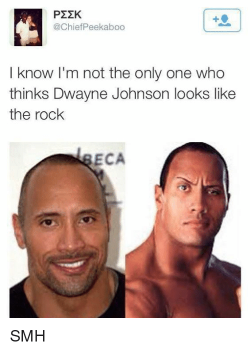 Dwayne Johnson, Memes, and Smh: P22K  @Chief Peekaboo  I know I'm not the only one who  thinks Dwayne Johnson looks like  the rock  ECA SMH