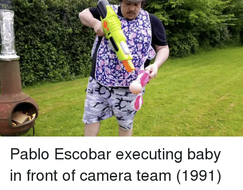 Pablo Escobar, Camera, and Baby: Pablo Escobar executing baby in front of camera team (1991)
