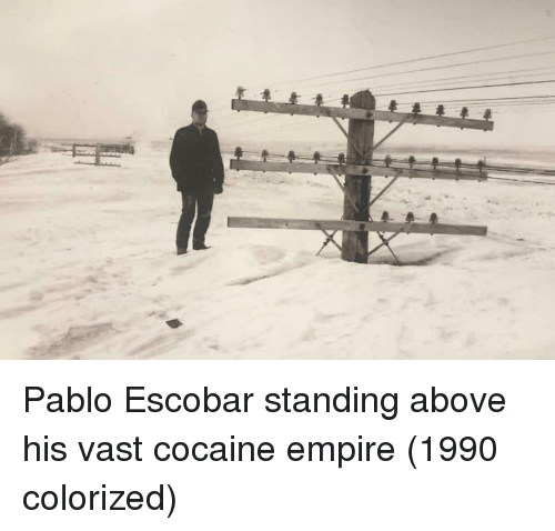 Empire, Pablo Escobar, and Cocaine: Pablo Escobar standing above his vast cocaine empire (1990 colorized)