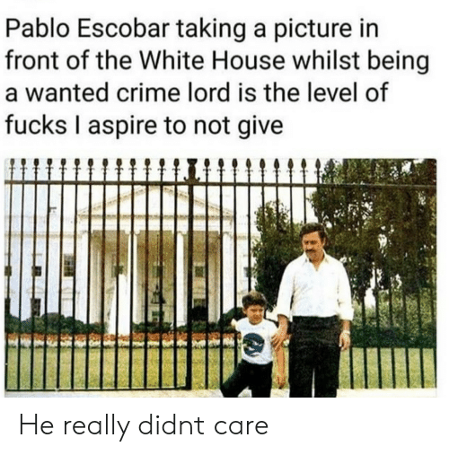Crime, Pablo Escobar, and White House: Pablo Escobar taking a picture in  front of the White House whilst being  a wanted crime lord is the level of  fucks I aspire to not give He really didnt care