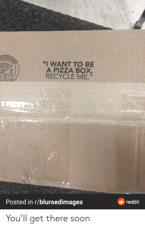 "Eight: PACKAGING  ER  CERTIFICAT  ""I WANT TO BE  A PIZZA BOX.  RECYCLE ME.""  THIS  SINGLEWALL  EETS ALL CONSTRUCTION  REMEITS OF APPLICABLE  EIGHT CLASSIFICATION  E CRUSH 32  (ECT)  Mt 75 MCHES  65 us  LOSAN  OSS  ELT  O reddit  Posted in r/blursedimages You'll get there soon"