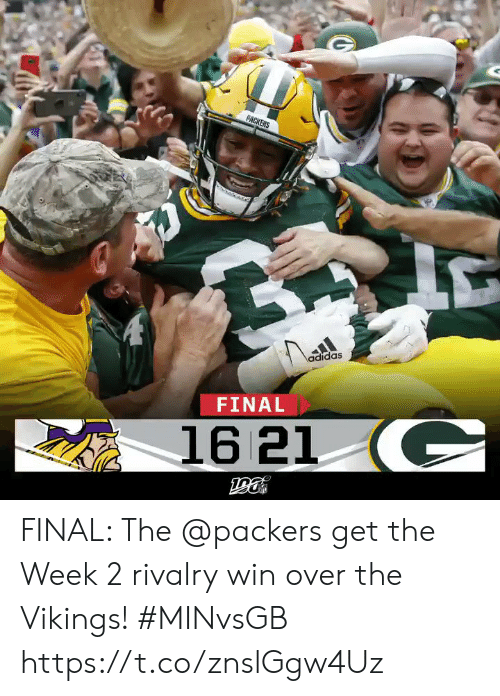 Adidas: PACKERS  adidas  FINAL  16 21 C FINAL: The @packers get the Week 2 rivalry win over the Vikings! #MINvsGB https://t.co/znslGgw4Uz