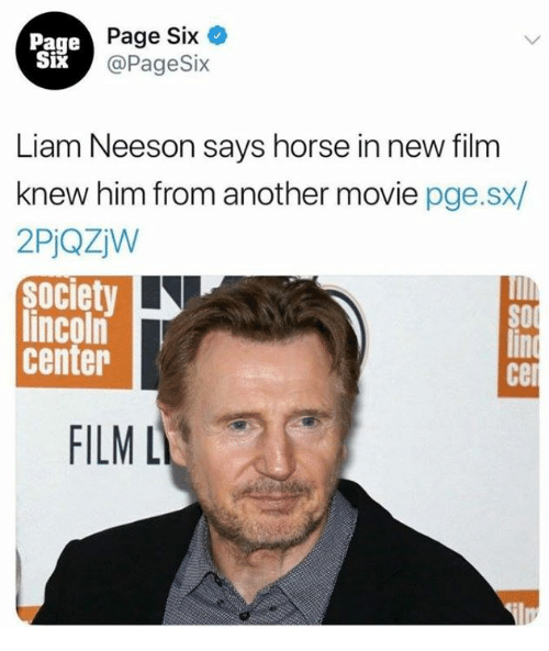 Liam Neeson, Horse, and Lincoln: Page  Six  Page Six  @PageSix  Liam Neeson says horse in new film  knew him from another movie pge.sx/  2PjQZW  society  lincoln  center  SO  cel