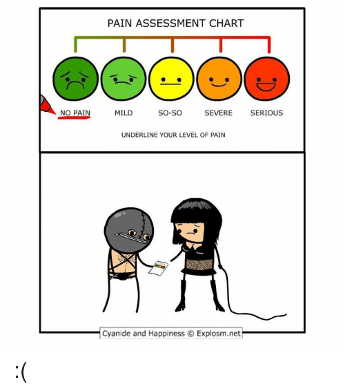 Memes, Cyanide and Happiness, and Mild: PAIN ASSESSMENT CHART  NO PAIN  MILD  So-So  SEVERE SERIOUS  UNDERLINE YOUR LEVEL OF PAIN  Cyanide and Happiness Explosm.net :(