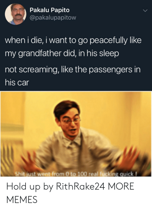 Passengers: Pakalu Papito  @pakalupapitow  when i die, i want to go peacefully like  my grandfather did, in his sleep  not screaming, like the passengers in  his car  Shit just went from 0 to 100 real fucking quick! Hold up by RithRake24 MORE MEMES