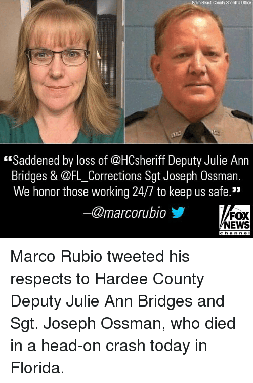 """Foxe: Palm Beach County Sheriff's Office  """"Saddened by loss of @HCsheriff Deputy Julie Ann  Bridges & @FL_Corrections Sgt Joseph Ossman.  We honor those working 24/7 to keep us safe.""""  @marcorubio步  FOX  NEWS  cha n ne l Marco Rubio tweeted his respects to Hardee County Deputy Julie Ann Bridges and Sgt. Joseph Ossman, who died in a head-on crash today in Florida."""