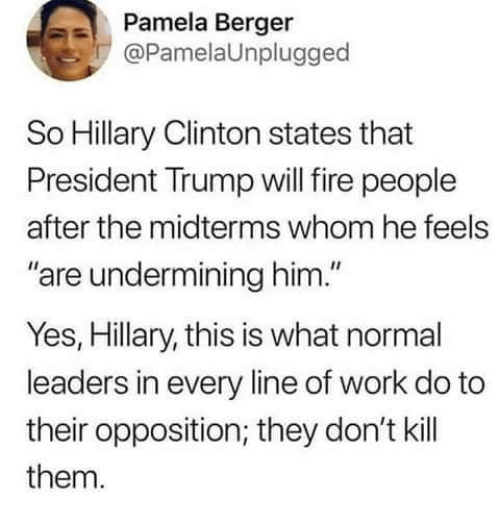 "Fire, Hillary Clinton, and Memes: Pamela Berger  @PamelaUnplugged  So Hillary Clinton states that  President Trump will fire people  after the midterms whom he feels  are undermining him.""  Yes, Hillary, this is what normal  leaders in every line of work do to  their opposition; they don't kill  them."