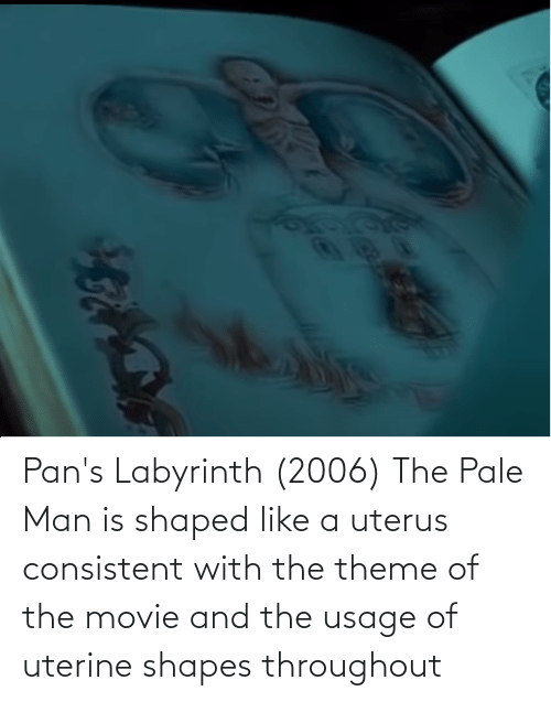 Labyrinth: Pan's Labyrinth (2006) The Pale Man is shaped like a uterus consistent with the theme of the movie and the usage of uterine shapes throughout