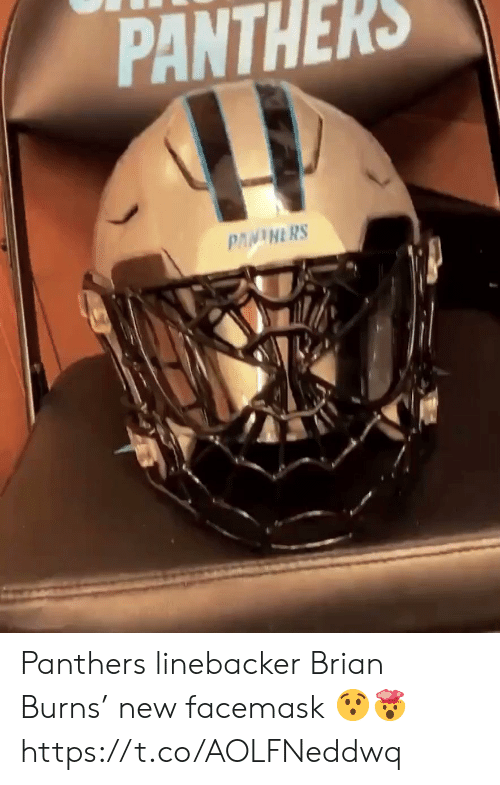 Football, Nfl, and Sports: PANTHERS  PANINERS Panthers linebacker Brian Burns' new  facemask 😯🤯 https://t.co/AOLFNeddwq