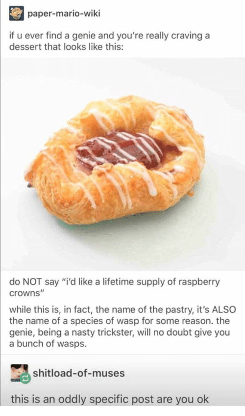 """Nasty, Mario, and Dessert: paper-mario-wiki  if u ever find a genie and you're really craving a  dessert that looks like this:  do NOT say """"i'd like a lifetime supply of raspberry  crowns""""  while this is, in fact, the name of the pastry, it's ALSO  the name of a species of wasp for some reason. the  genie, being a nasty trickster, will no doubt give you  a bunch of wasps.  shitload-of-muses  this is an oddly specific post are you ok"""
