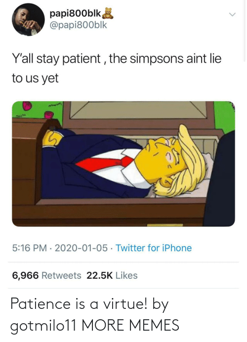 Iphone 6: papi800blk,  @papi800blk  Y'all stay patient , the simpsons aint lie  to us yet  5:16 PM · 2020-01-05 · Twitter for iPhone  6,966 Retweets 22.5K Likes Patience is a virtue! by gotmilo11 MORE MEMES