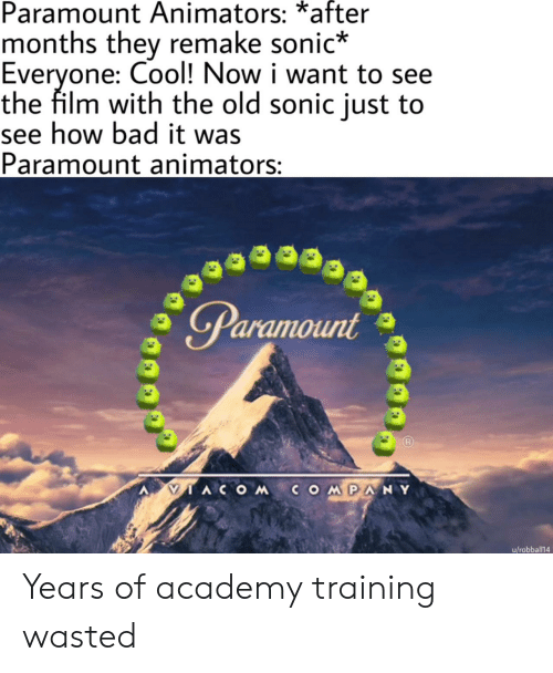 training: Paramount Animators: *after  months they remake sonic*  Everyone: Cool! Now i want to see  the film with the old sonic just to  see how bad it was  Paramount animators:  Paramount  IACOMCOMPANY  u/robball14 Years of academy training wasted