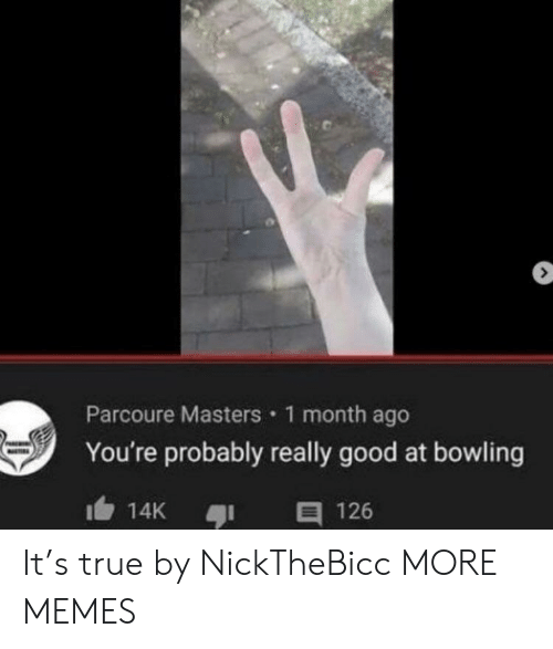 Dank, Memes, and Target: Parcoure Masters 1 month ago  You're probably really good at bowling  E 126  14K It's true by NickTheBicc MORE MEMES