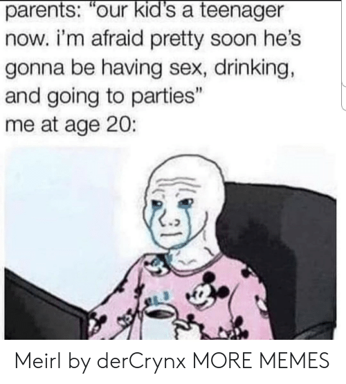 "Dank, Drinking, and Memes: parents: our kid's a teenager  now. i'm afraid pretty soon hes  gonna be having sex, drinking,  and going to parties""  me at age 20: Meirl by derCrynx MORE MEMES"