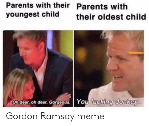 Donkey, Gordon Ramsay, and Meme: Parents with their Parents with  youngest child  their oldest child  Oh dear, oh dear. Gorgoous. You fucking donkey. Gordon Ramsay meme