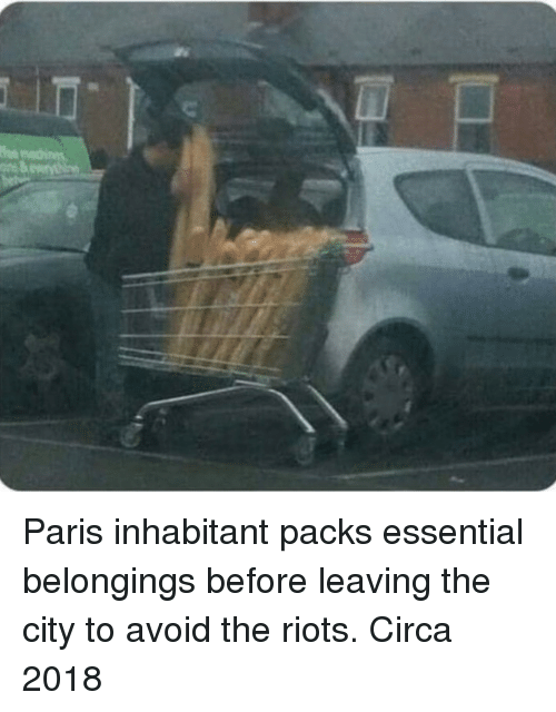 riots: Paris inhabitant packs essential belongings before leaving the city to avoid the riots. Circa 2018