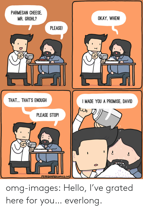Hello, Omg, and Tumblr: PARMESAN CHEESE.  MR. GROHL?  OKAY, WHEN!  PLEASE!  THAT... THATS ENOUGH  I MADE YOU A PROMISE, DAVID  PLEASE STOP!  PEARSHAPEDCOMICS.CoM omg-images:  Hello, I've grated here for you… everlong.