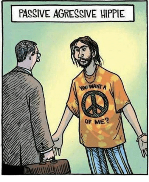 agressive: PASSIVE AGRESSIVE HIPPIE  YoU WANT A  OF ME