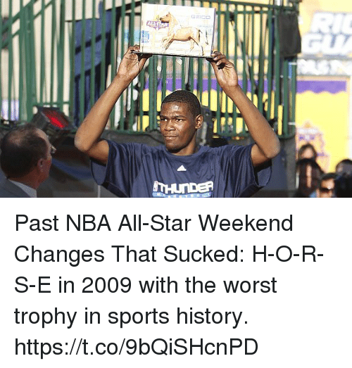 nba all star weekend: Past NBA All-Star Weekend Changes That Sucked: H-O-R-S-E in 2009 with the worst trophy in sports history. https://t.co/9bQiSHcnPD