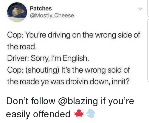 patches: Patches  @Mostly_Cheese  Cop: You're driving on the wrong side of  the road  Driver: Sorry, I'm English.  Cop: (shouting) It's the wrong soid of  the roade ye was droivin down, innit? Don't follow @blazing if you're easily offended 🍁💨