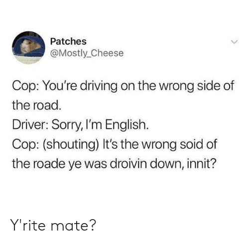 patches: Patches  @Mostly_Cheese  Cop: You're driving on the wrong side of  the road.  Driver: Sorry, I'm English.  Cop: (shouting) It's the wrong soid of  the roade ye was droivin down, innit? Y'rite mate?