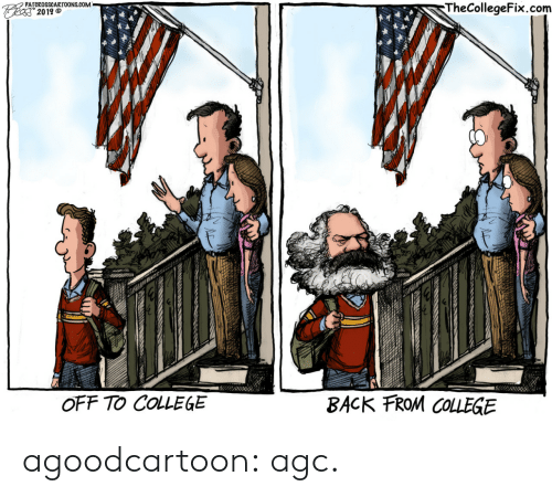 College, Tumblr, and Blog: PATCROSSCARTOONS.COM  TheCollegeFix.com  Feas 2019  BACK FROM COLLEGE  OFF TO COLLEGE agoodcartoon: agc.