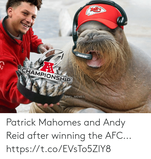 winning: Patrick Mahomes and Andy Reid after winning the AFC... https://t.co/EVsTo5ZlY8