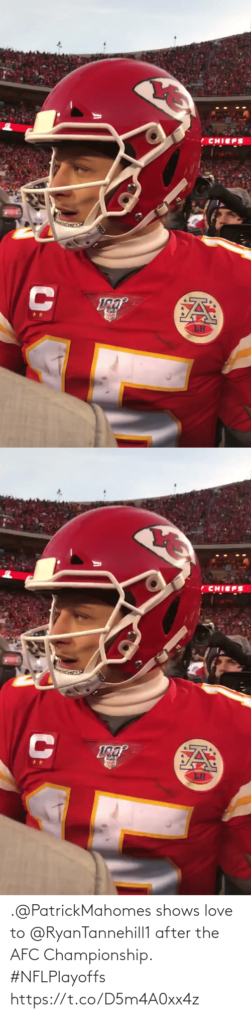 Afc Championship: .@PatrickMahomes shows love to @RyanTannehill1 after the AFC Championship. #NFLPlayoffs https://t.co/D5m4A0xx4z