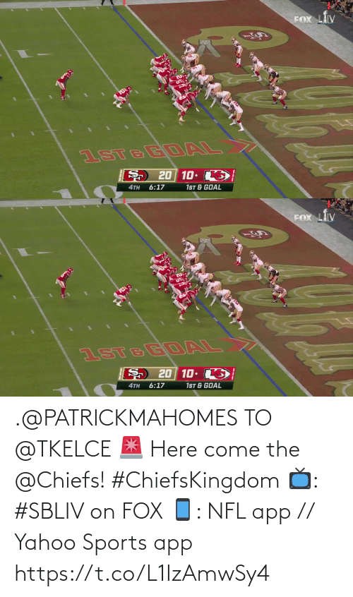fox: .@PATRICKMAHOMES TO @TKELCE 🚨  Here come the @Chiefs! #ChiefsKingdom  📺: #SBLIV on FOX 📱: NFL app // Yahoo Sports app https://t.co/L1IzAmwSy4