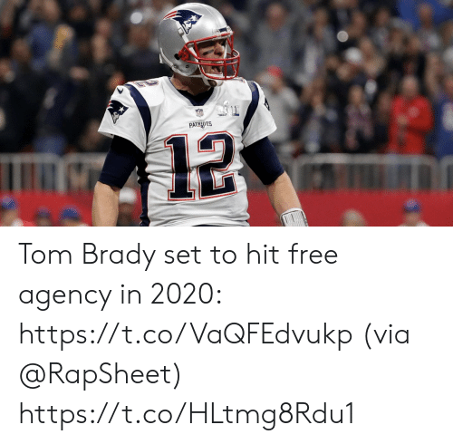 Memes, Tom Brady, and Free: PATRINTS  12 Tom Brady set to hit free agency in 2020: https://t.co/VaQFEdvukp (via @RapSheet) https://t.co/HLtmg8Rdu1