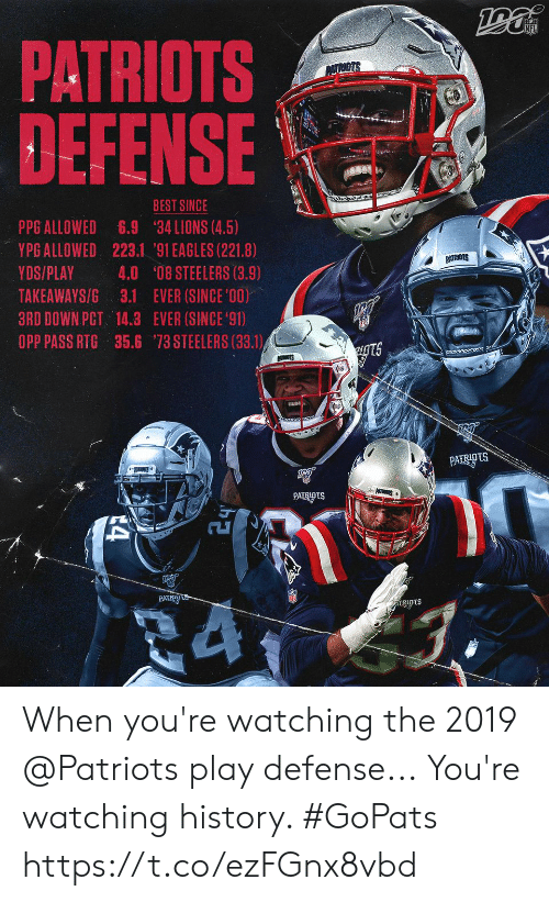 Ever Since: PATRIOTS  DEFENSE  PATRIOTS  BEST SINCE  PPG ALLOWED  YPG ALLOWED 223.1 '91 EAGLES (221.8)  6.9  34 LIONS (4.5)  PATRIGTS  YDS/PLAY  4.0 '08 STEELERS (3.9)  TAKEAWAYS/G 3.1 EVER (SINCE '00)  3RD DOWN PCT 14.3 EVER (SINCE 91)  OPP PASS RTG 35.6 73 STEELERS (33.1)  ugts  PATTS  PATRIOTS  PATRIDtS When you're watching the 2019 @Patriots play defense...  You're watching history. #GoPats https://t.co/ezFGnx8vbd