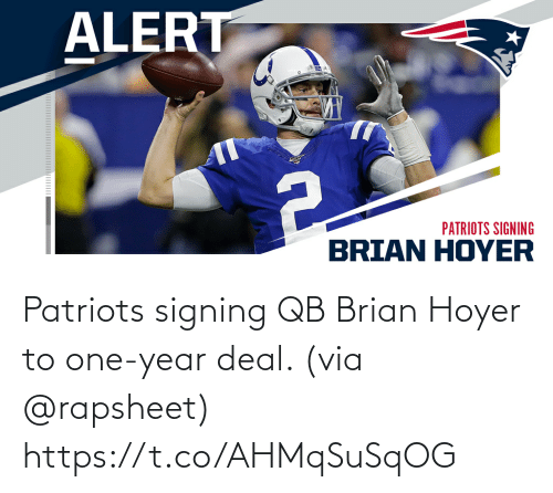 Patriotic: Patriots signing QB Brian Hoyer to one-year deal. (via @rapsheet) https://t.co/AHMqSuSqOG
