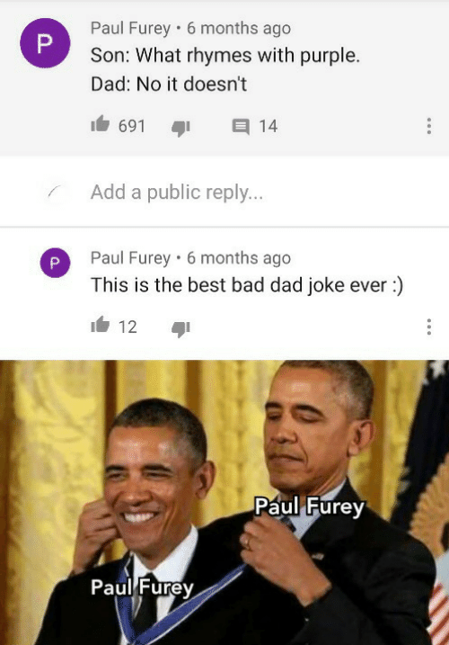 reply: Paul Furey • 6 months ago  Son: What rhymes with purple.  Dad: No it doesn't  691  14  Add a public reply...  Paul Furey · 6 months ago  This is the best bad dad joke ever :)  12  Paul Furey  Paul Furey  P.