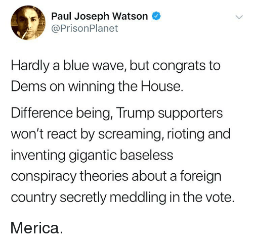 Rioting: Paul Joseph Watson  @PrisonPlanet  Hardly a blue wave, but congrats to  Dems on winning the House.  Difference being, Trump supporters  won't react by screaming, rioting and  inventing gigantic baseless  conspiracy theories about a foreign  country secretly meddling in the vote. Merica.