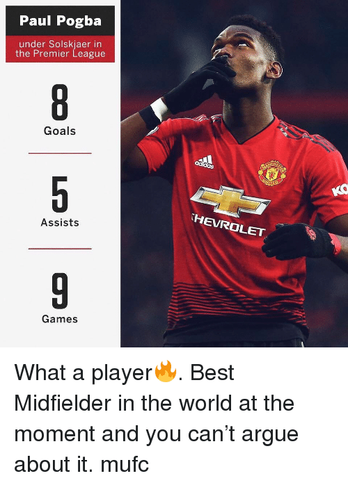 Arguing, Goals, and Memes: Paul Pogba  under Solskjaer in  the Premier League  Goals  HEVROLET  Assists  Games What a player🔥. Best Midfielder in the world at the moment and you can't argue about it. mufc