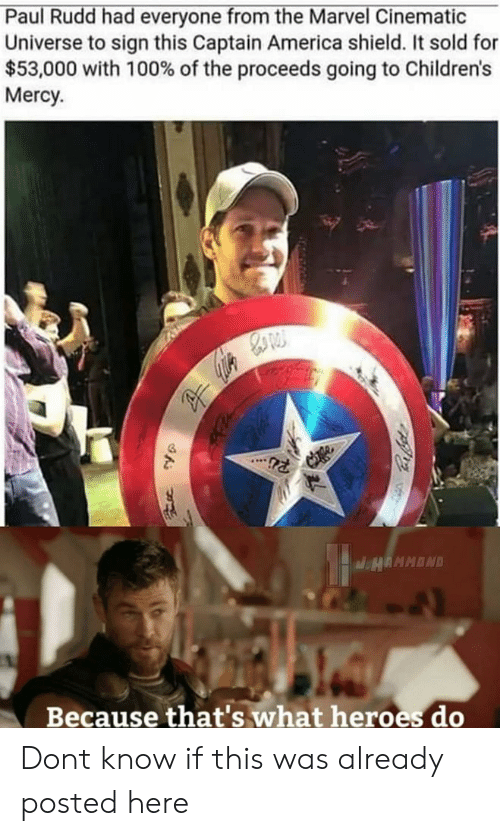 Cinematic Universe: Paul Rudd had everyone from the Marvel Cinematic  Universe to sign this Captain America shield. It sold for  $53,000 with 100% of the proceeds going to Children's  Mercy  Because that's what heroes do Dont know if this was already posted here