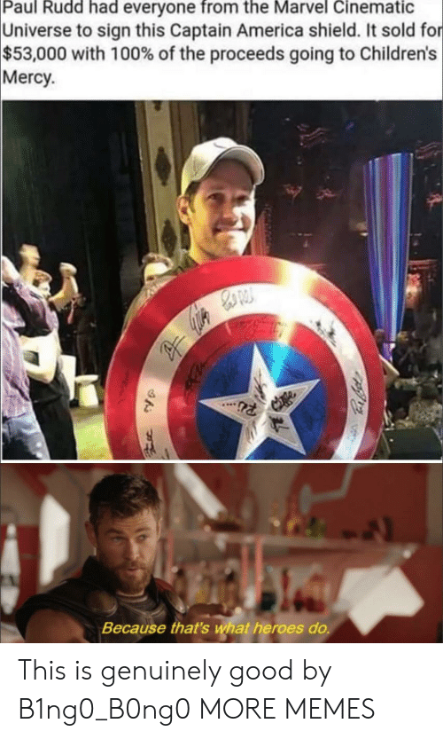 Cinematic Universe: Paul Rudd had everyone from the Marvel Cinematic  Universe to sign this Captain America shield. It sold for  $53,000 with 100% of the proceeds going to Children's  Mercy  Because that's wat heroes do. This is genuinely good by B1ng0_B0ng0 MORE MEMES