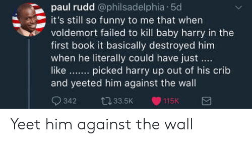 Book It: paul rudd @philsadelphia 50  it's still so funny to me that when  voldemort failed to kill baby harry in the  first book it basically destroyed him  when he literally could have just  like. picked harry up out of his crib  and yeeted him against the wall  342 33.5K 115K Yeet him against the wall