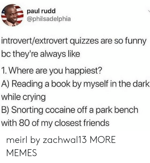 paul rudd: paul rudd  @philsadelphia  introvert/extrovert quizzes are so funny  bc they're always like  1. Where are you happiest?  A) Reading a book by myself in the dark  while crying  B) Snorting cocaine off a park bench  with 80 of my closest friends meirl by zachwal13 MORE MEMES