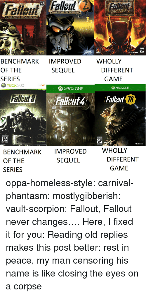 vault: PC  TACTICS  POST MUGLEAR COLE PLAVINE CEME  A  uv-EAR TACTICAL COMB  Ee  MATURE  RO FORTE ERE  WHOLLY  BENCHMARK IMPROVED  OF THE  SERIES  SEQUEL  DIFFERENT  GAME  XBOX360  LIVE  XBOX ONE  XBOX ONE  76  MATURE 17+  RP  Bethesda  Bethesda  WHOLLY  BENCHMARK IMPROVED  OF THE  SERIES  SEQUEL  DIFFERENT  GAME oppa-homeless-style: carnival-phantasm:  mostlygibberish:  vault-scorpion: Fallout, Fallout never changes…. Here, I fixed it for you:  Reading old replies makes this post better: rest in peace, my man   censoring his name is like closing the eyes on a corpse