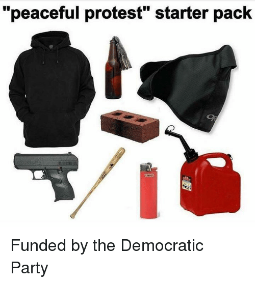"""peaceful protest: """"peaceful protest"""" starter pack Funded by the Democratic Party"""