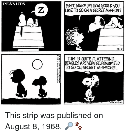August 8: PEANUTS  PSST, aAKE UP: HOW WOULD YOU  LIKE TO GO ON A SECRET MISSION  8-  | THIS IS QUITE FLATTERING.  하 IBEAGLESAREVERY SELDOM INVITED  TO GOON SECRET MISSIONS. This strip was published on August 8, 1968. 🔎🐾