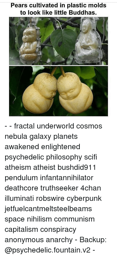 cultivate: Pears cultivated in plastic molds  to look like little Buddhas. - - fractal underworld cosmos nebula galaxy planets awakened enlightened psychedelic philosophy scifi atheism atheist bushdid911 pendulum infantannihilator deathcore truthseeker 4chan illuminati robswire cyberpunk jetfuelcantmeltsteelbeams space nihilism communism capitalism conspiracy anonymous anarchy - Backup: @psychedelic.fountain.v2 -