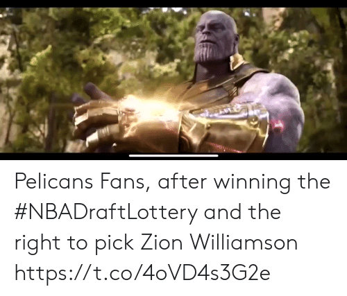 Sports, Zion, and Winning: Pelicans Fans, after winning the #NBADraftLottery and the right to pick Zion Williamson https://t.co/4oVD4s3G2e