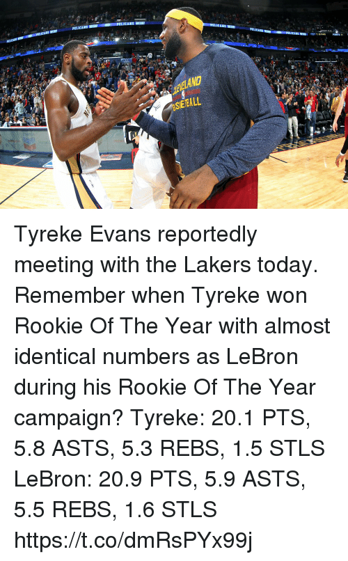 Los Angeles Lakers, Memes, and Lebron: PELICANS WIN  PONTS 3  EELAND  SEEALL Tyreke Evans reportedly meeting with the Lakers today. Remember when Tyreke won Rookie Of The Year with almost identical numbers as LeBron during his Rookie Of The Year campaign?   Tyreke: 20.1 PTS, 5.8 ASTS, 5.3 REBS, 1.5 STLS  LeBron: 20.9 PTS, 5.9 ASTS, 5.5 REBS, 1.6 STLS https://t.co/dmRsPYx99j