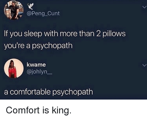 pillows: @Peng Cunt  If you sleep with more than 2 pillows  you're a psychopath  kwame  @johlyn_  a comfortable psychopath Comfort is king.