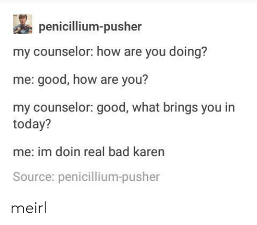 You My: penicillium-pusher  my counselor: how are you doing?  me: good, how are you?  my counselor: good, what brings you in  today?  me: im doin real bad karen  Source: penicillium-pusher meirl