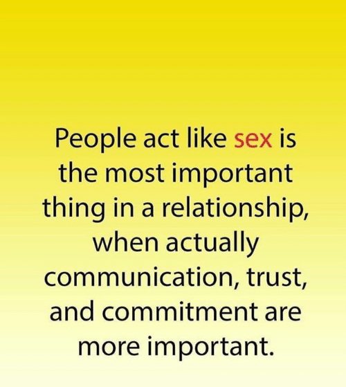 Memes, Sex, and In a Relationship: People act like sex is  the most important  thing in a relationship,  when actually  communication, trust,  and commitment are  more important.